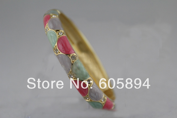 High End Cloisonne Enamel Simple Brand Bracelets For Women rhinestone Fashion Colorful Bangles Jewelry(China (Mainland))