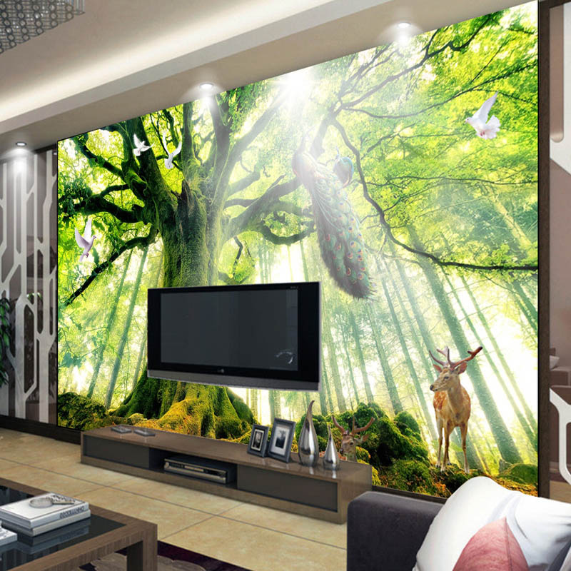 Tree woods forest photo wallpaper custom 3d wallpaper for Nature room wallpaper