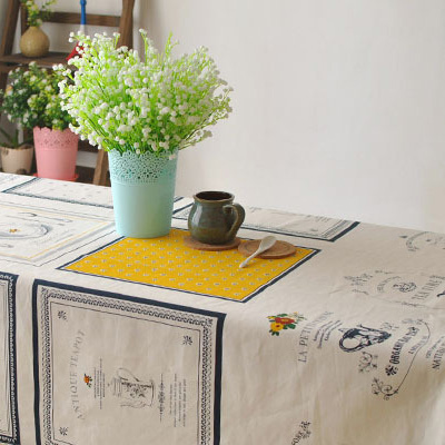 Handmade Cotton Linen Tablecloth Printed Vintage French Style Coffee Tablecloth Zakka Tea Time Table Cover Rectangular Nappe(China (Mainland))