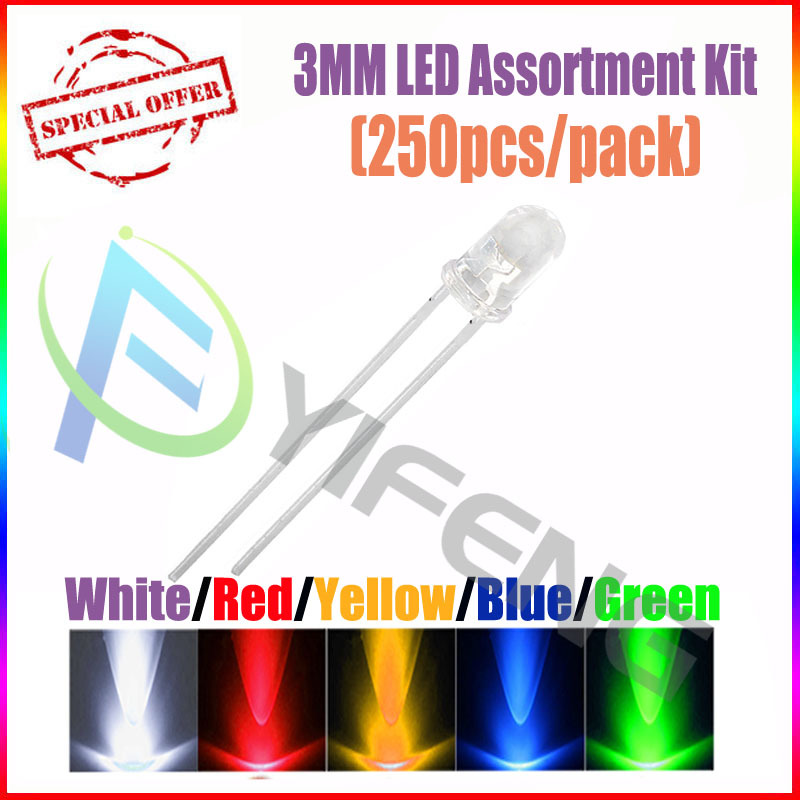 (250pcs/pack)(LEDRound 3MM) 3MM LED Assortment Kit, Ultra Bright,Water Clear, Green/Yellow/Blue/White/Red, Light Emitting Diode - Shenzhen Yi Feng science Co.,Ltd store