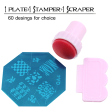 60Designs Nail At Template Set  1pcs Konad Stamping Image Plates and Stamper Scraper Nail Polish Stamp Manicure Nail Tools