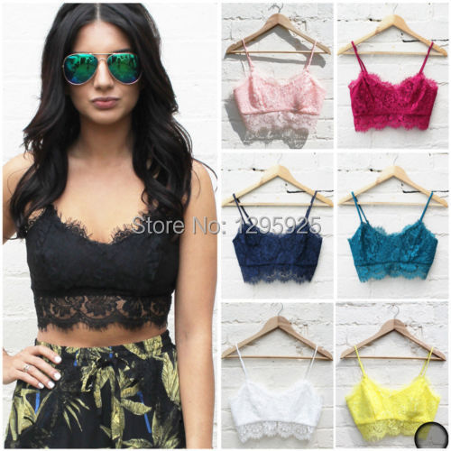 Sexy Women Lace Floral Unpadded Bralette Bralet Bra Bustier Crop Top Cami Tank(China (Mainland))