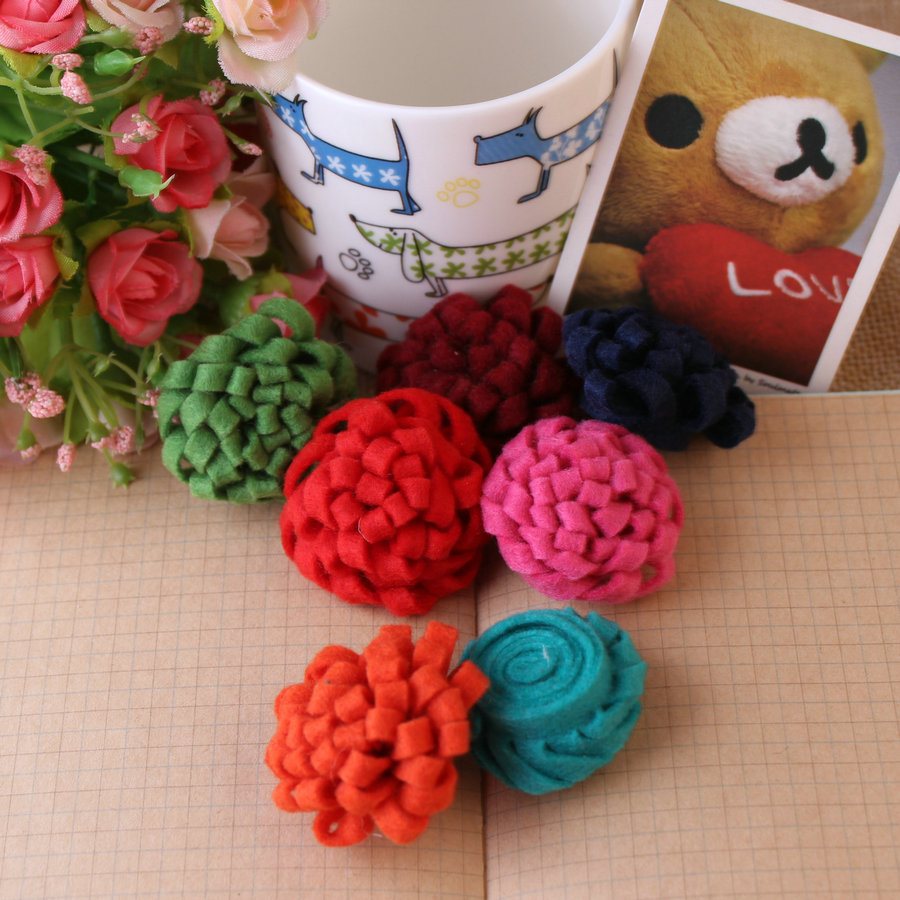 Free Shipping Handmade Mum Flower Shape Wool Felt Hairband Bow Decoration Patches Mix Colors 50pcs Jewelry Accessories Flowers(China (Mainland))