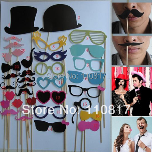 36pcs On A Stick Mustache Photo Booth Props Wedding Birthday Party Fun Favor Free Shipping(China (Mainland))