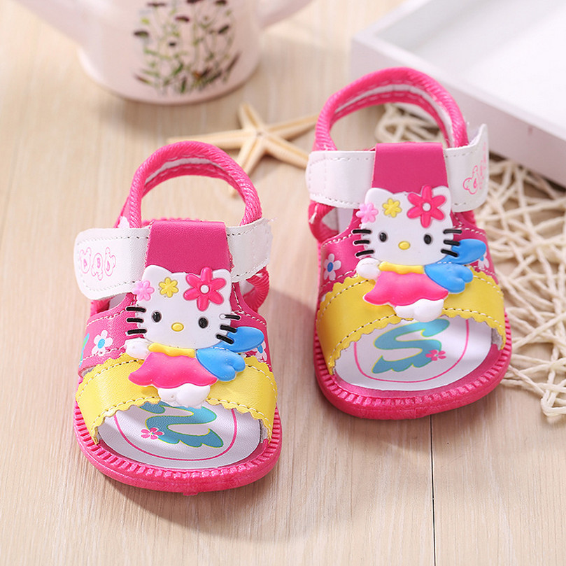 2016 Fashion Leather Girls Shoes Sandals Hello Kitty Baby Shoes Girls Rubber Sole First Walkers Baby Sandals Summer Kids Shoes(China (Mainland))