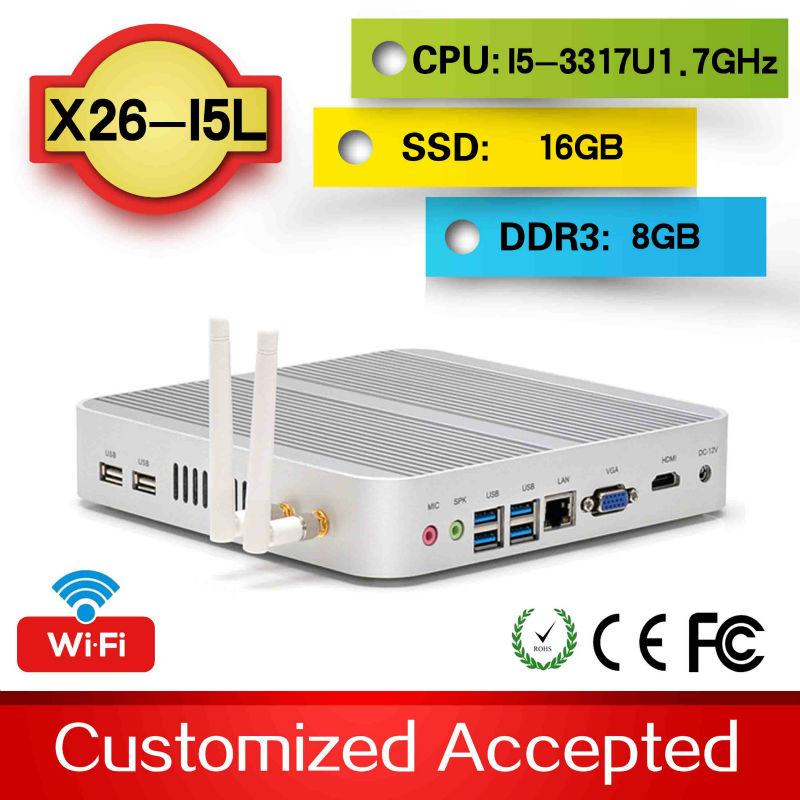 mini itx case htpc pc computers small linux computer Intel Core i5 3317U 1080P HD HTPC 4*USB3.0 8G RAM 16G SSD(China (Mainland))