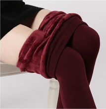 Free Shipping plus cashmere woman girl Casual Warm Winter Faux Velvet Knitted Thick Slim Super Elastic women  Leggings (China (Mainland))