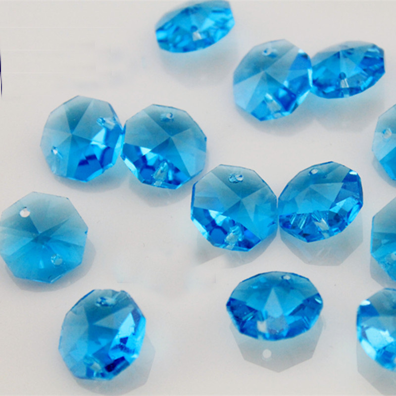 Здесь можно купить  Free Shipping,1000pcs/lot aquamarine 14mm octagon crystal chandelier beads in 2 holes for wedding &ball garland strand  Свет и освещение