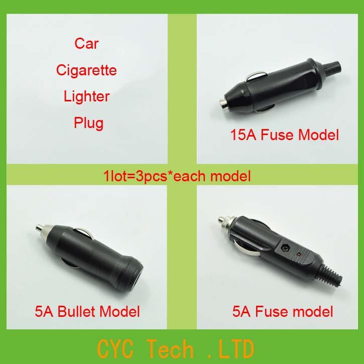 1lot=10piecesl x 3model High Quality 12V 24V Car Cigarette Lighter Plug Jack Cigar Power Connector Fused(China (Mainland))