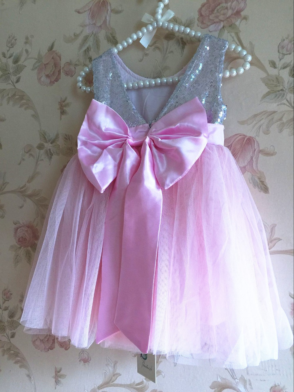 EMS DHL Free Shipping toddler Girl's Holiday Dress kids Sequin Bow Tulle dress Princess Sleeveless Kids Clothing Party Dress(China (Mainland))