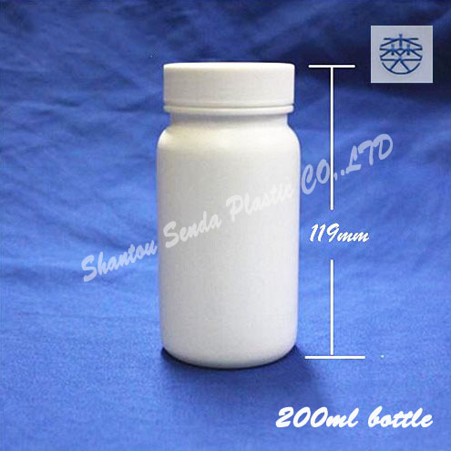 10PCS/LOT FREE SHIPPING Screw cap PE plastic bottle manufacturer, for pills, tablets, capsules, powder 200ML HDPE plastic bottle(China (Mainland))