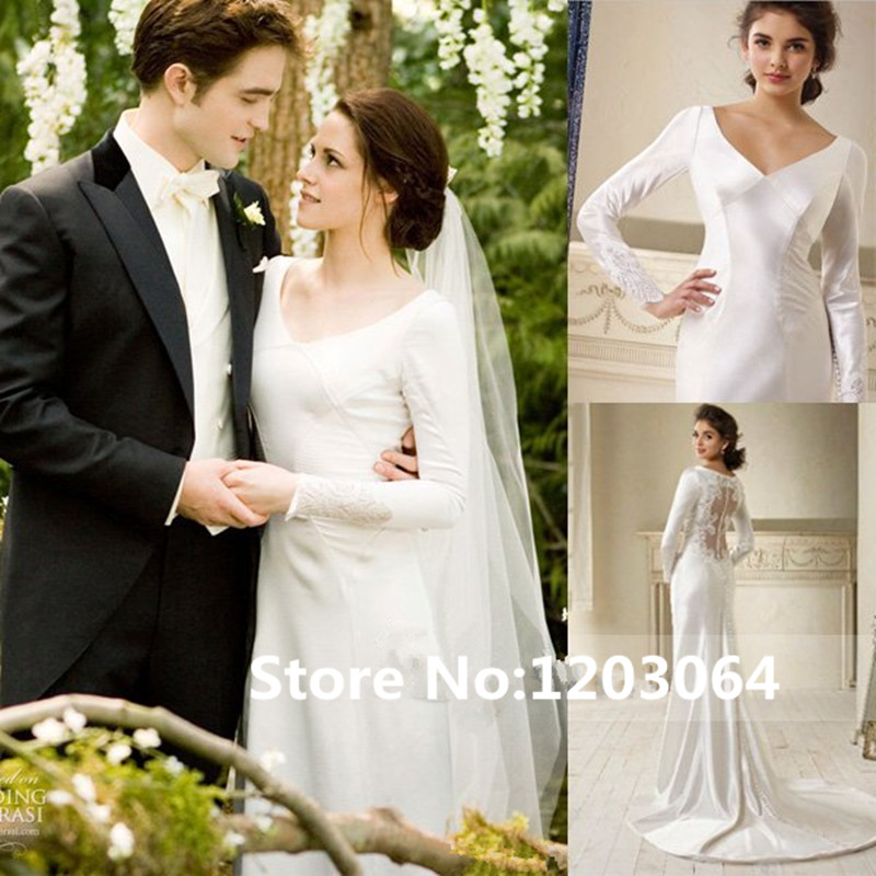 Kristen Stewart Twilight Bella Swan Breaking Dawn Wedding Dress V-Neck Long Sleeve Sheath Court Train Buttons Up Bridal Gowns(China (Mainland))