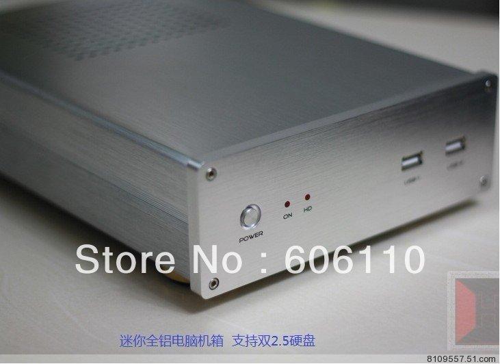 Htpc mini itx Desktop aluminum alloy small pc case H61 i3 i5 Atom D525 D2550 D2700 D2800 E350 ion3(China (Mainland))