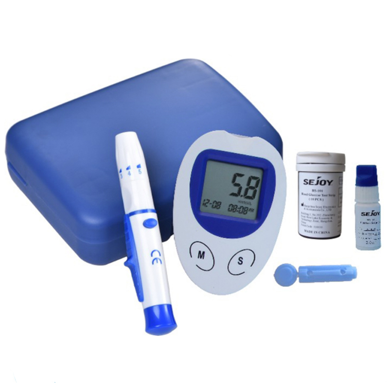 Blood Glucose Glucometer glucometro Monitor Meters Diabetics glycuresis Test Kit with 10Test Strips +Needles +Lancing Device