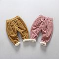 2016 winter new boys and girls baby Korean corduroy double thickening plus cashmere trousers Harlan pants