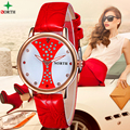 Women Watches Fashion Casual Female Wristwatch 2017 Leather Waterproof Clock NORTH Red Analog Round Quartz Dress