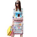 Women Dress 2017 Autumn Daily National Style Full Sleeve Knee Length Straight Flower Print Dress