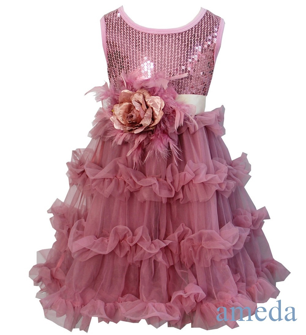 Girls Shimmer Dusty Pink Party Tutu Pettiskirt Dress with Feather Rose Sash(Hong Kong)
