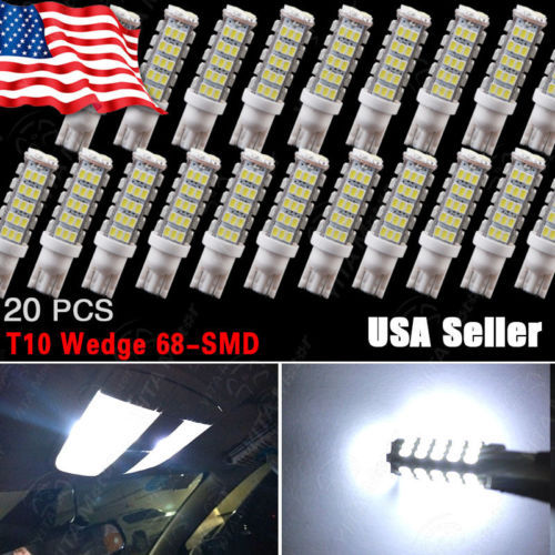 20pcs LED Car Lights Interior / External Light Bulbs T10 68-SMD led Super Bright White Reverse Lights Bulbs W5W 194 921 168 -C(China (Mainland))