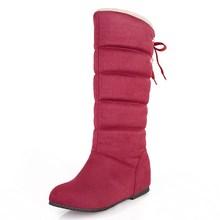 Botas de nieve 2017 nuevo invierno cálido de felpa zapatos de las mujeres de moda punta redonda mitad de la pantorrilla botas aumento de la altura calzado tamaño grande 34-45(China (Mainland))