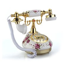 High Quality Retro Vintage Antique Style Floral Ceramic Home Decor Desk Telephone Phone Free Shipping