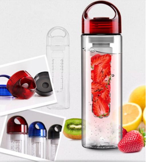 605-1-A 700ML Red cap Fruit Infusing Infuser Water Bottle  with box Sports Health Lemon Juice Make Bottle(China (Mainland))