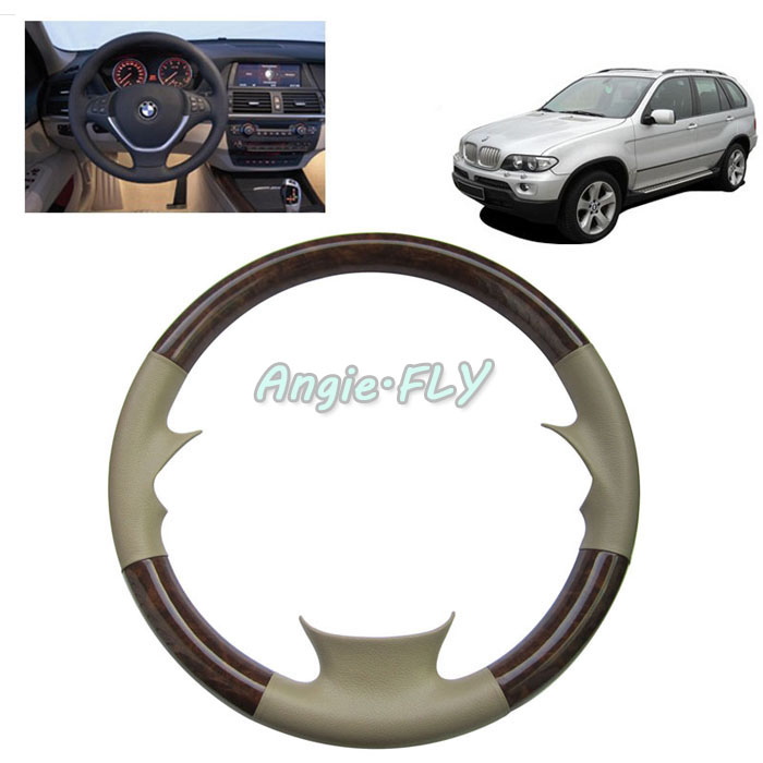 black brown beige auto car leather wood steering wheel black cover case cap for bmw x5 e70. Black Bedroom Furniture Sets. Home Design Ideas