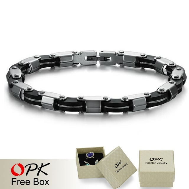 OPK JEWELRY Factory Price,Real Silicone + stainless steel bracelet, men's matel bracelet, silver tone bangle Free Shipping810