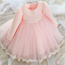 Autumn Vintage Princess Style 1 Year Girl Baby Birthday Dress Lace Big Bow Girls Party Dress Kids Children Toddler Girl Clothes(China (Mainland))
