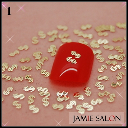 Gold Metal Art Nail Sticker $ Shape Design Gold Nail Decal Metallic Tips 1000pcs/pack Free Shipping #1