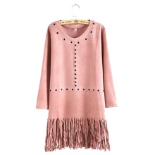 Women suede leather fringe straight dress O-neck long sleeve tassels dresses Vestidos femininos casual streetwear dress QZ2201(China (Mainland))