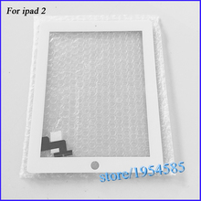 For iPad 2 Touch Screen Digitizer Front Glass for iPad2 A1395 A1396 A1397 Touch Panel  White & Black + 3M Adhesive  DP205(China (Mainland))