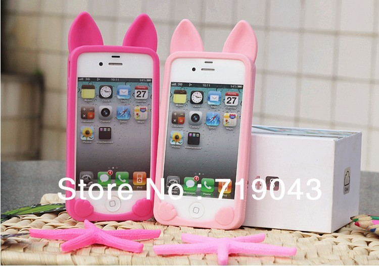 5 pieces , 3D cute KOKO cat cell phone case for iphone 4 4s, soft gel silicon luminous skin case for IPHONE 4 4s , free shipping