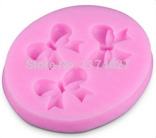Free shipping beautiful Bownot shaped 3D Silicone mold Fondant Cake Decorating Tools kitchen accessories