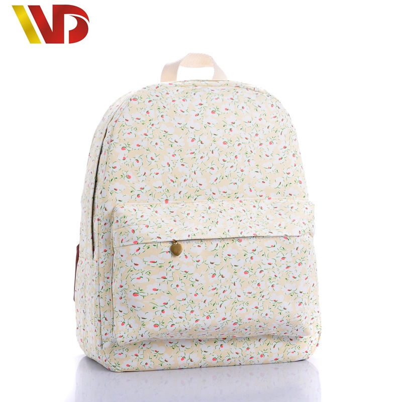 2016 NEW Brand Backpacks School Girls Fashion Fresh Lovely Little Purple Daisy Classic Canvas Backpack High Quality Travel Bag(China (Mainland))