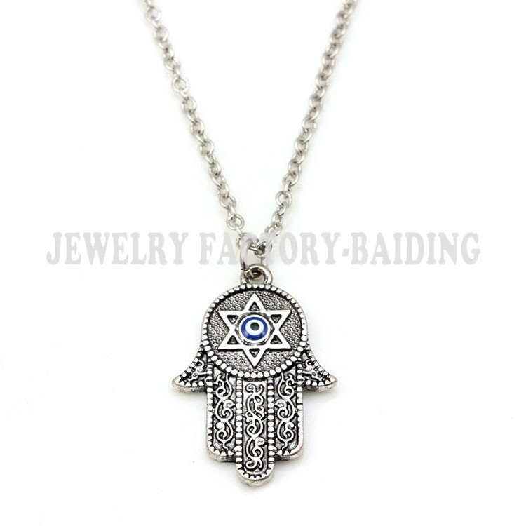 ! 2015 fashion blue evil eye necklace,fatima hand charm necklace Vintage style jewelry - Yiwu Baiding Trade Co., Ltd. store