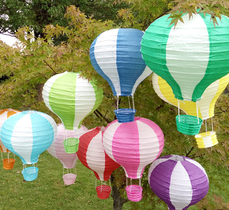 10pcs/lot 12 inch(30cm*48cm) Multicolor Hot Air Balloon Paper Lantern Wishing Lanterns for Birthday Wedding Party Decor Gift(China (Mainland))