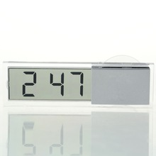 1pcs Durable Transparent Car Electronic Clock Mini LCD Display Digital with Sucker Newest Hot Search(China (Mainland))