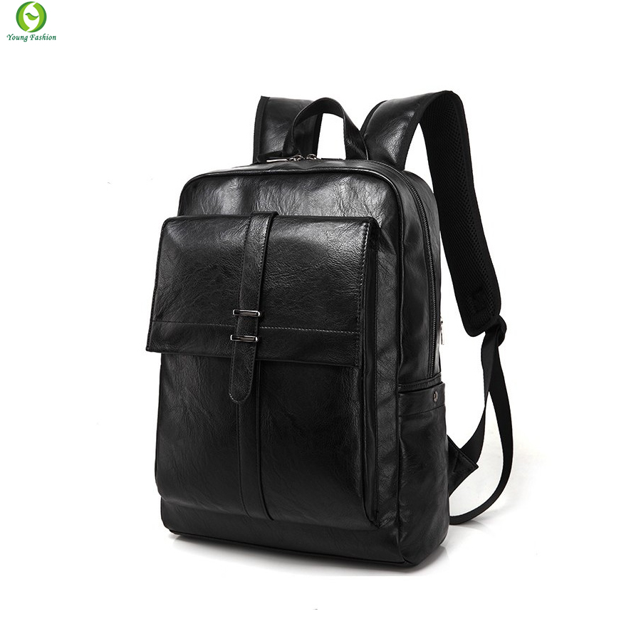 new Fashion Tender Waterproof PU leather bags Restore ancient ways travel backpack bag black men high school students backpack(China (Mainland))