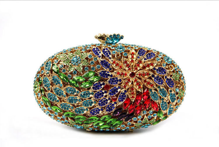 Beta & Tara Floral Oval-Shaped Rhinestone Crystal Evening Bags Multi Color Flower Women Clutch Bag UK Sale Fast Shipping - Store of Unique Accessories for iPhone Cell Phone store