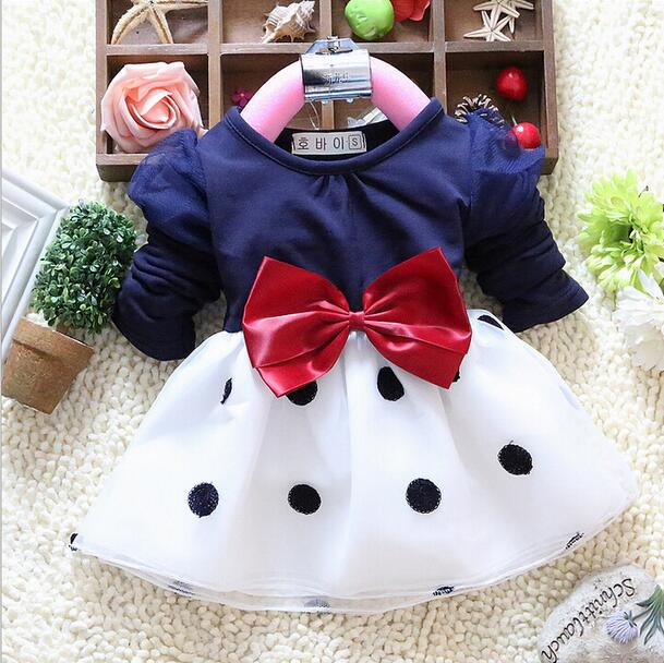 Baby Girl Clothes Autumn Toddler Party Llong Sleeve Polka Dot Princess Tutu Bow Dress Cute Lace Kids Ball Gown Dresses 0-2Years - Summer Sunshine1314 store