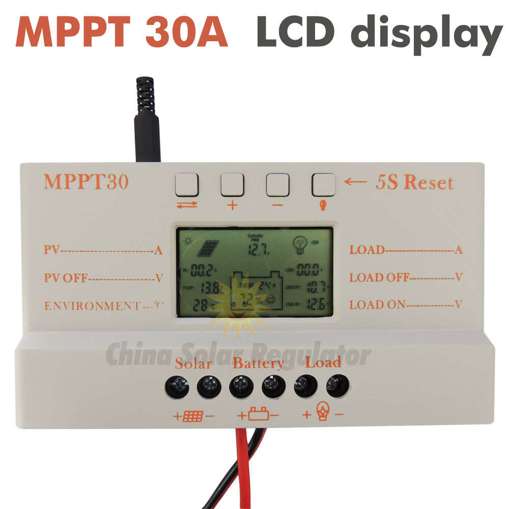 MPPT 30A solar controller charger 5V USB Charger 12V 24V Solar Panel Battery LCD Charger Controller auto work mppt 30 30Amps(China (Mainland))