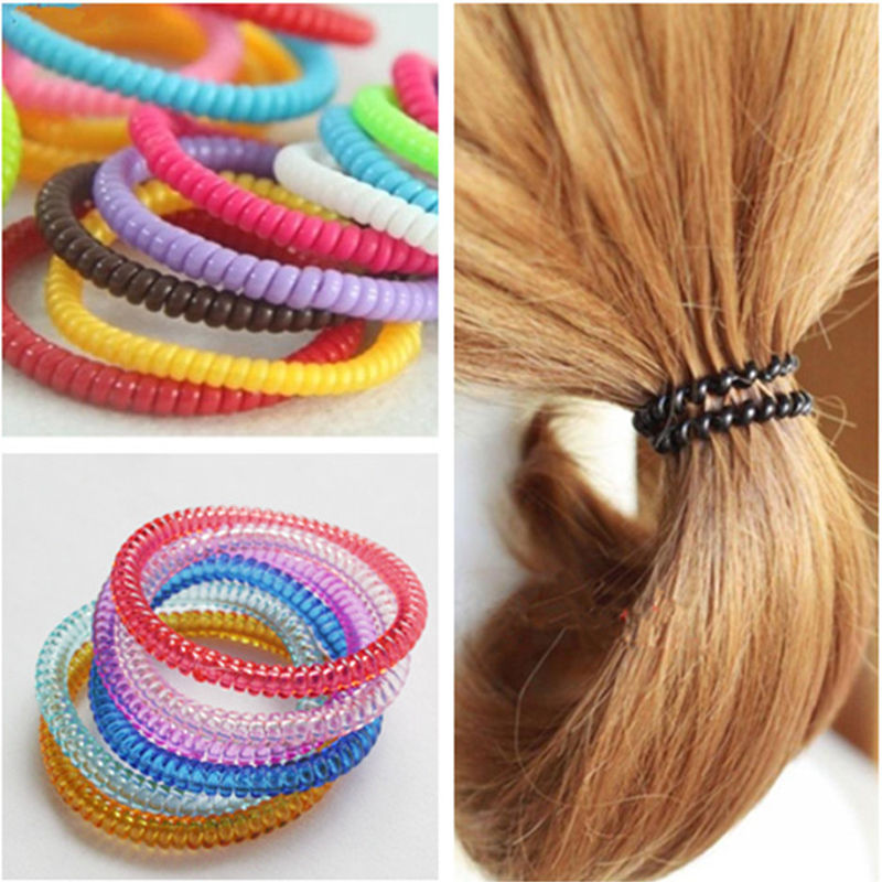 Random Color!! 10 PC Women Lady Girls Colorful/Black Rubber Telephone Wire Hair Ties Plastic Rope Hair Accessories(China (Mainland))