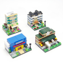 2016New!City Technic Apartment Hotel Department Store Train station  building block model streetscape brick Compatible with LEGO(China (Mainland))