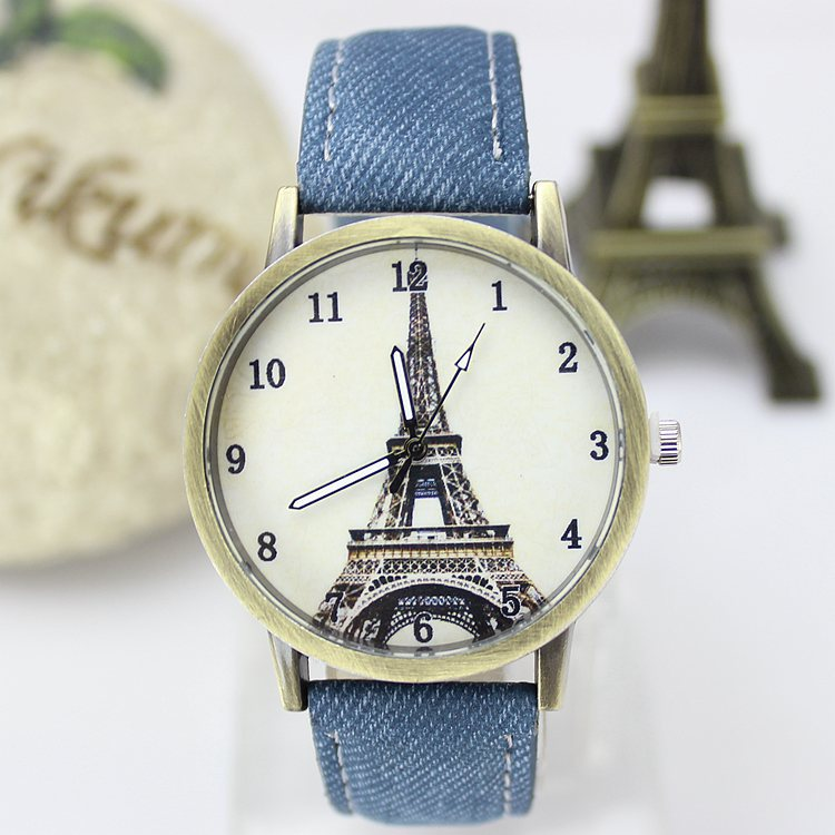 Fashion Eiffel Tower Dial Women Watches Denim Fabr...