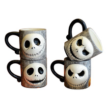 Free shipping Nightmare Before Christmas Relief Ceramic Mug Halloween Skeleton Man Face Cups Creative Coffee Mug Cups 350ml