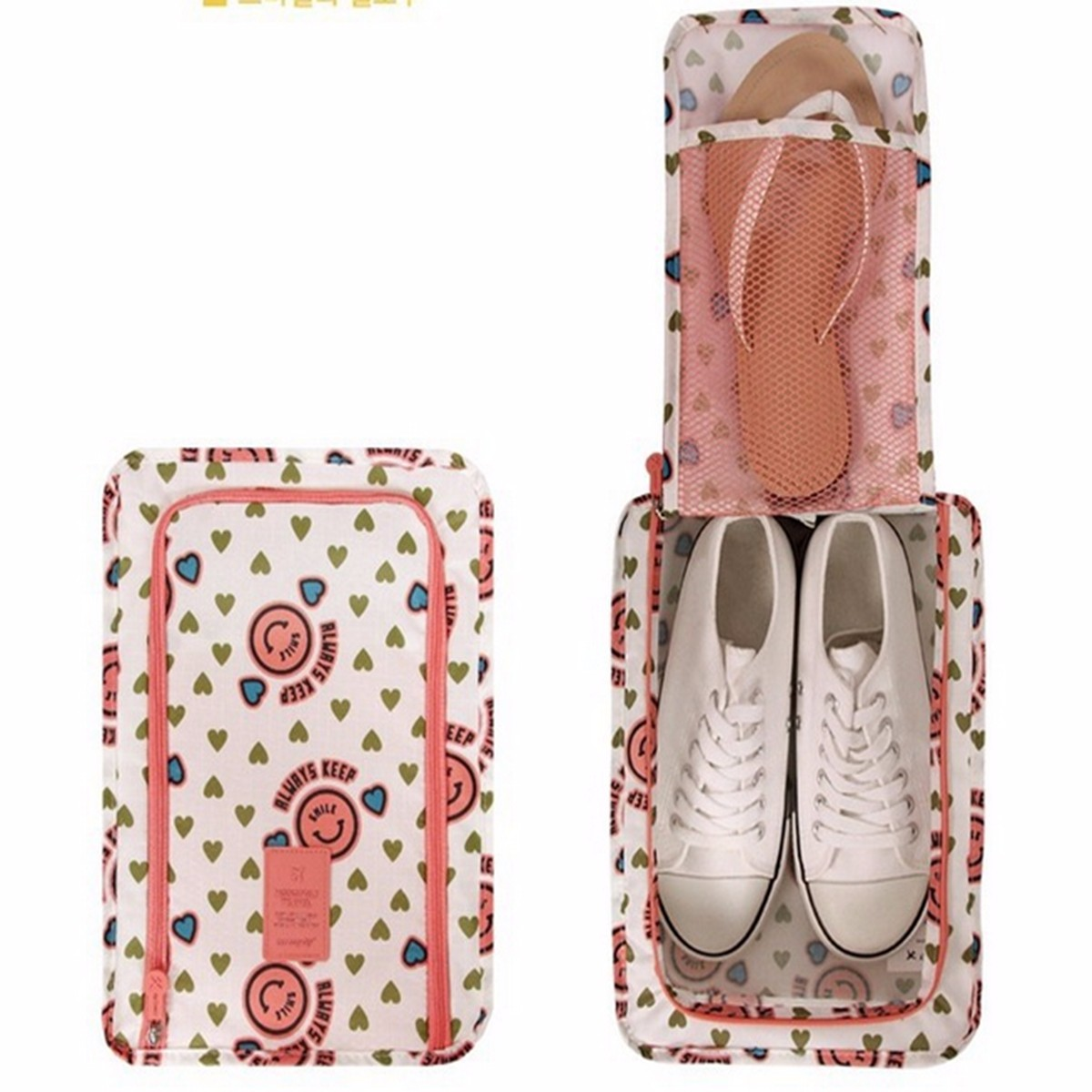 Portable Travel Wash Shoes Pouch Polyester Smiley Heart Flower Printing Shoe Storage Bags Handbag Zip Closure Waterproof Bag(China (Mainland))