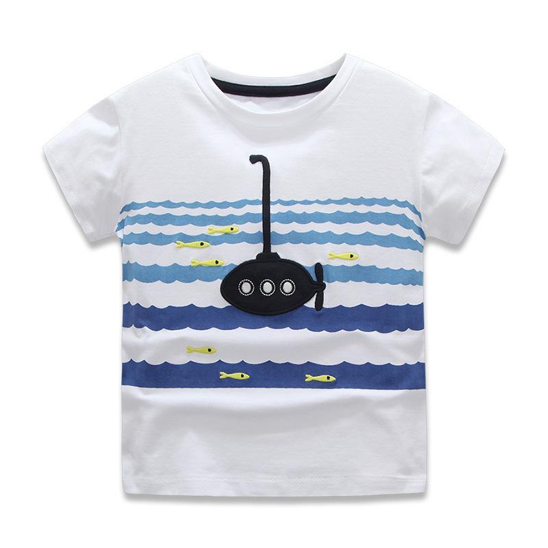 Summer Children boys Embroidery submarine short sleeve T-shirt kids 100% cotton tees top wholesale<br><br>Aliexpress