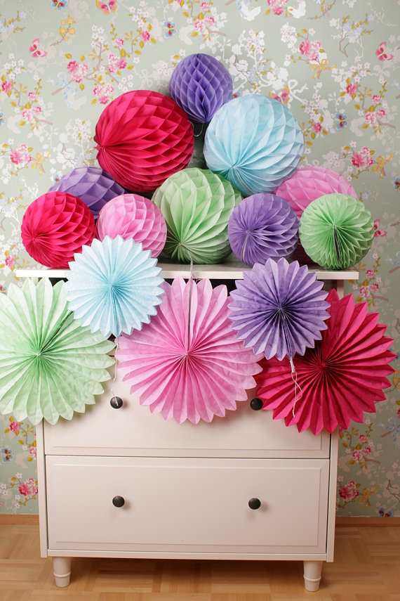 Multicolor Wedding Party Favor Ideas Products Hanging Tissue Paper Honeycomb Balls, Paper Fan Decorations(China (Mainland))