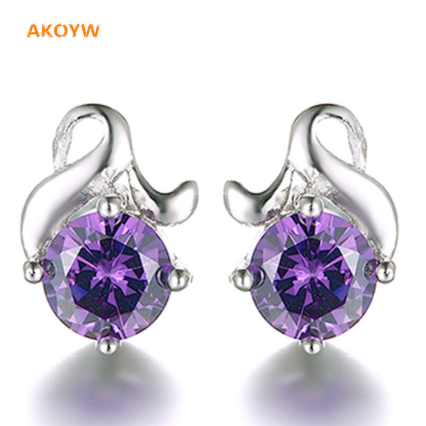 The new Silver plated earrings white flowers purple crystal earrings Ms. retro fashion lover gift high quality earrings jewelry(China (Mainland))